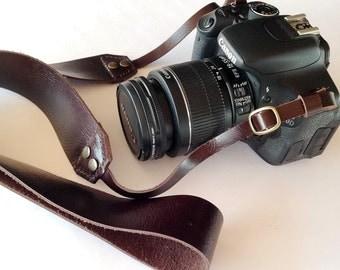 Dark chocolate  Leather   Camera Strap