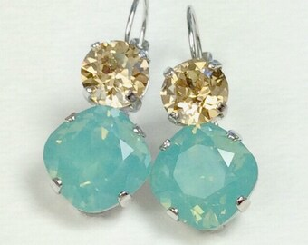 Swarovski Crystal 12MM/8.5mm Drop Earrings - Pacific Opal & Golden Shadow - OR Choose Custom Colors  Classic Drama - FREE SHIPPING