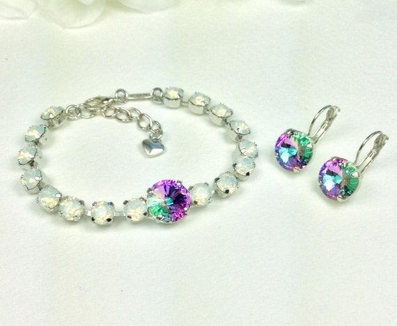 Swarovski Crystal 12MM & 6MM Bracelet and 12mm Drop Earrings - Designer Inspired - White Opal/Vitrail Light - Now On SALE 25. -FREE SHIPPING