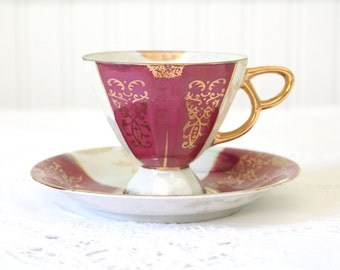 Vintage Porcelain Lusterware Japanese Tea Cup and Saucer,Tea Party