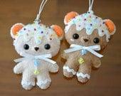Rainbow Sugar/Gingerbread Cookie Bear Felt Ornament / Cell Phone Strap / Keychain / Bag Charm