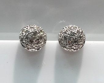 14K White Gold Half Sphere Diamond Earrings