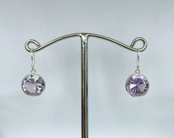 Sterling Silver Round Pink Amethyst Earrings