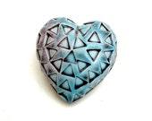 Valentines Heart ,Ceramic Sculpture , Aqua And  Pink Heart , Home Decor , Heart Pebble