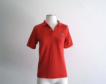 Vintage Lacoste Shirt, Red Polo Shirt, Izod Lacoste Shirt, Mens Shirt, Womens Shirt, Distressed Grunge, Short Sleeve, Mens XS/Womens Sm
