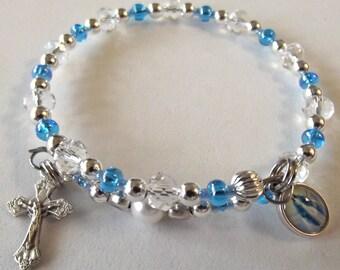 Blue Crystal Rosary Bracelet