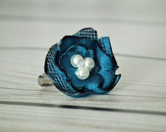 Teal satin flower ring, with three faux pearls - size 6.5+ adjustable ring, bridesmaid jewelry, flower statement jewelry, made to order