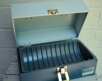 Vintage Metal FILM REEL CASE, Storage Box with Plastic Sleeve and Handle- Slate Blue & Gray