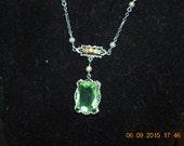 "10 Kt White Gold Light Green Gemstone Emerald cut Lariat Style 16"" Beautiful"