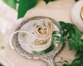 Looped Bridal hair Comb with Crystals and Pearls, Crystal and Pearl Bridal Hair Comb #107HC