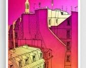 In an old house in Paris 2. - Paris Art Illustration Print Paris art prints Paris decor Home decor Architectural illustration Cityscape Pink