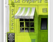 La creperie - Paris illustration Fine art illustration Mixed media illustration Prints Posters Paris decor Paris cafe City prints Lime Gifts