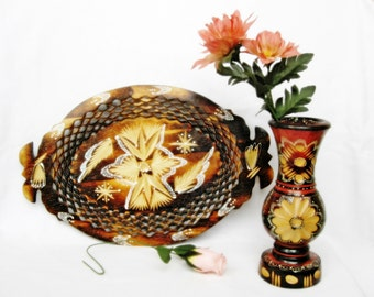 Vintage wood carved tray and vase Handmade home decor