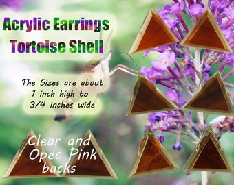 Acrylic Earrings, Tortoise Shell, Clear and Opec pink back ( one of Each )