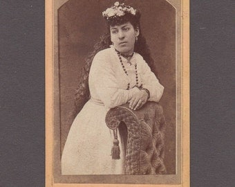 Cramer CDV of an Exotic Looking Lady with Long, Long Hair