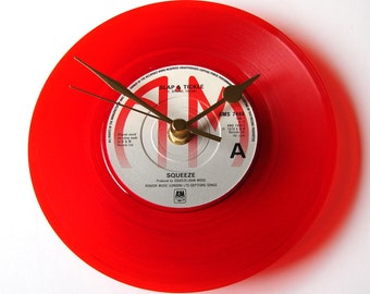 """Squeeze Record CLOCK from recycled 7"""" vinyl record, """"Slap and Tickle"""", Gift for men, women, new wave pop post punk fan, red, coloured vinyl"""