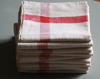 french towel, red striped linen tea towel, red AD monogram