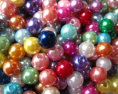 Pearl Beads, 8mm Beads, 100 pcs, Faux Pearls, Mixed Color Bubblegum Bead, Small Gumball Beads, Acrylic Bead, Bracelet Beads, Spacer Beads