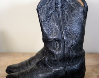 vintage dan post black leather distressed broken in western cowboy boots men's size 9D