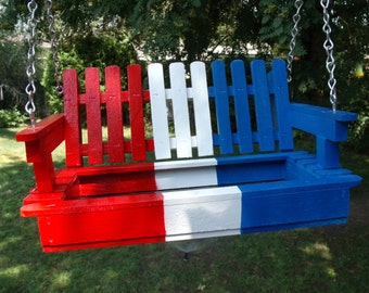 Mother's Day, 4th Of July, Fourth Of July, Red, White and Blue All American Porch Swing Bird Feeder, Patriotic Feeder, Bird Lovers, Rustic