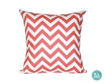 Coral Chevron Pillow Cover - 18 x 18, 20 x 20 and More Sizes - Zipper Closure - sc1820