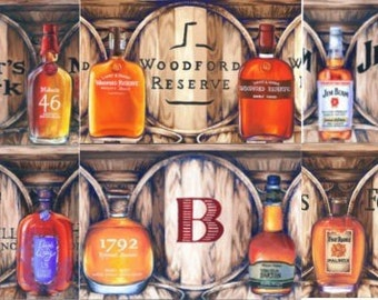 "5"" by 7"" Bourbon Oil Painting Prints, Set of Four; barware drinkware, wall art decor, stock the bar, wedding hostess gift for him, man cave"