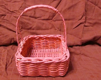 vintage small pink wicker basket