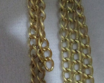 Vintage polished gold chain link dangle pierced earrings pair  3 inch dangle