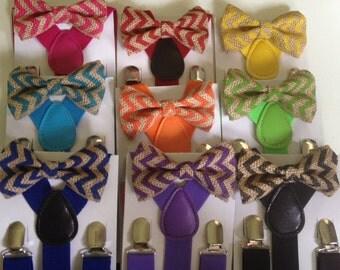 Purple Bow tie suspenders set Chevron Burlap bowtie Jute Boy Bow ties Orange Toddler Necktie Lavender Groomsmen Wedding Ring Bearer Outfit