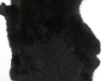 Genuine Rabbit Skin - Black Fur # 22-260505