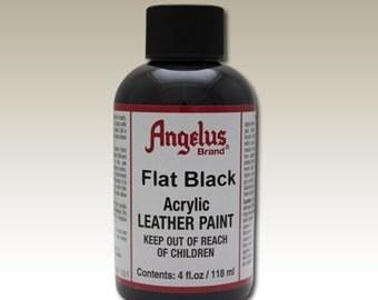 Flat Black Angelus Acrylic Leather Paint 4 oz #6-724101