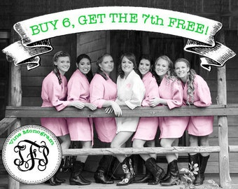 FREE ROBE - Personalized Robe - Bridesmaid Gift - Wedding - Blush - Set of 7