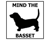 Mind the Basset ceramic door/gate sign tile