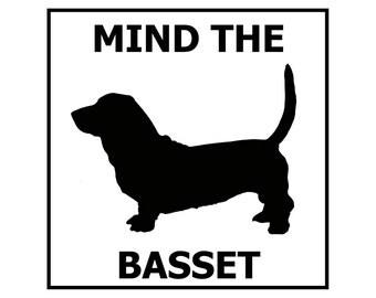 Mind the Basset ceramic door/gate sign tile