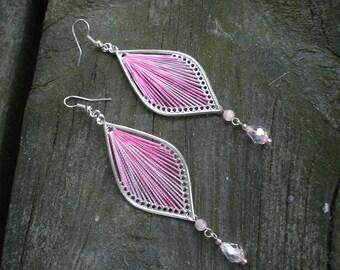Pink earrings, boho teardrop earrings, gift for her, Christmas gift ideas, thread earrings,pink earring, pink jewelry, gift for her