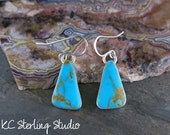 Kingman turquoise and sterling silver handmade dangle earrings - metalsmith silversmith