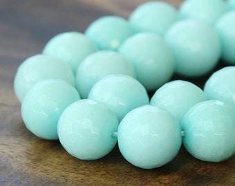 Faceted Jade Beads, Aqua, 10mm Round - 15 inch strand - eJFR-1863-10