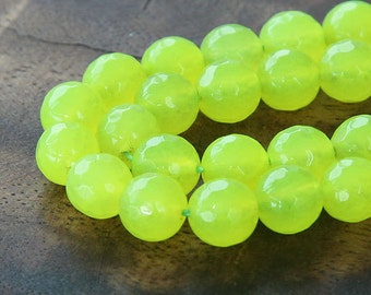 Faceted Jade Beads, Neon Yellowgreen, 10mm Round - 15 inch strand - eJFR-Y48-10