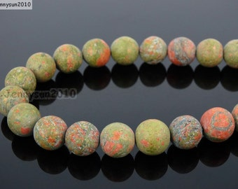 Natural Matte Unakite Frosted Gemstones 4mm 6mm 8mm 10mm 12mm Round Loose Spacer Beads 15'' Strand Jewelry Design