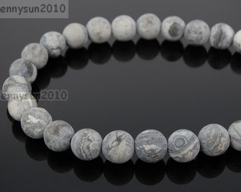 Natural Matte Landscape Jasper Frosted Gemstones 4mm 6mm 8mm 10mm 12mm Round Loose Spacer Beads 15'' Strand Jewelry Design