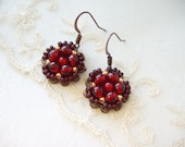 Red Dangle Earrings. Red Earrings. Beaded Antique Copper Filigree. Victorian Style Jewelry. Red Jewelry