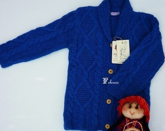 ALPACA jacket, 2 to 6 years old, hand knitted sweater,cardigan, baby, electric blue, lapis lazuli, Ready to ship. Febress baby