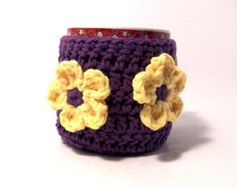 Crochet cup cozy purple with yellow flowers Mug cozy coffee cup cozy