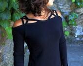 Dreamcatcher Top-Longsleeve tops-sexy tops women-yoga longsleeve-open shoulder top-cold shoulder top-womens festival tops-boho pixie rss