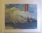 set of 4 prints Louis Macouillard San Francisco Summer Fog / Telegraph Hill more / 1950's