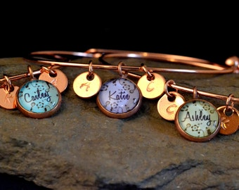 3 best friend bracelets, 3  friendship bangle, personalized name friendship