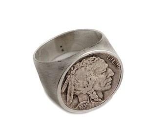Mens American Indian Head Nickel Ring - Sterling Silver