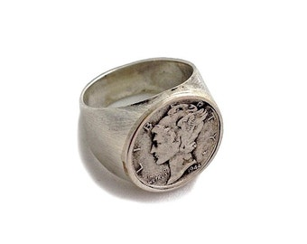 Vintage American Mercury Dime Ring - silver