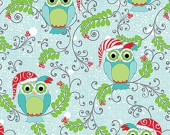 Fat Quarter Frosty Forest Owls Christmas Aqua Cotton Quilting Fabric