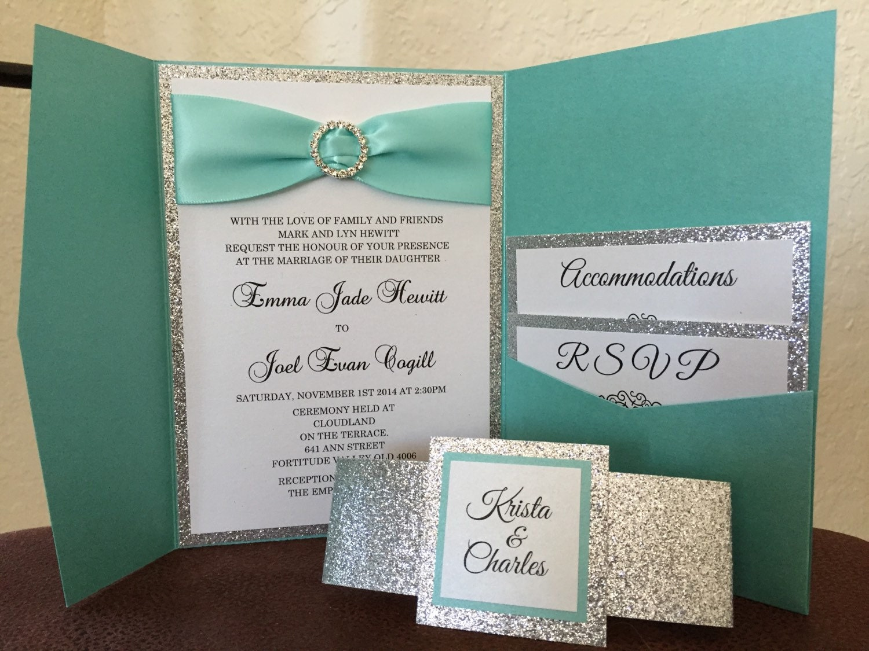 Teal wedding invitation-Robins egg wedding invitation